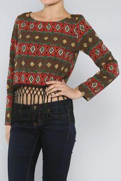 Aztec Fringe Top #wholesale #fall #cardigan #sweater #pants #jacket #sweater #fashion #clothing #ootd #wiwt #shopitrightnow #graphics #patterns #holiday #fringe
