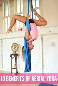10 Benefits of Aerial Yoga - Margie Pargie – 10 Benefits of Aerial Yoga Not only is aerial yoga a great workout, it is a great place to meditate, play with your inner child and relax into some really great assisted stretches. Aerial yoga is amazing for beginners, as well as workout junkies who want to step up their game and practice assisted... #aerialyoga #aerialyogaclasses #aerialyogahammock