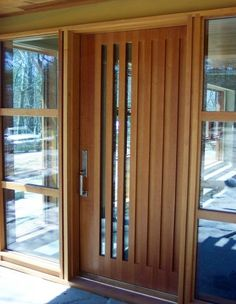 Glass and wood front doors modern entry design pictures remodel decor ideas intended for 6 Entry Doors With Glass, Wooden Front Doors, Front Door Entrance, House Front Door, Glass Front Door, Front Entry, House Doors, Contemporary Front Doors, Modern Entrance
