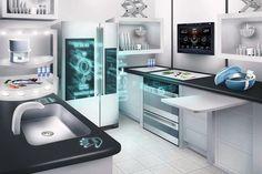 Interior, : Incredible Future Kitchen Technology With High Tech Quality In Design Ideas Futuristic Home, Futuristic Technology, Smart Kitchen, Buy Kitchen, Awesome Kitchen, Beautiful Kitchen, Kitchen Counters, Cheap Kitchen, Küchen Design