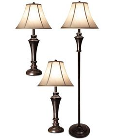 StyleCraft Aged Bronze Steel Set of 3: 2 Table Lamps and 1 Floor Lamp & Reviews - All Lighting - Home Decor - Macy's Table Lamp Wood, Table Lamp Sets, Traditional Lamps, Lamp Cord, Metal Floor, Steel Table, Fabric Shades, Lamp Shades, Home Collections