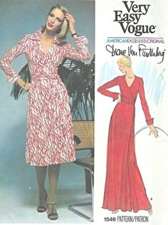 1970s Vogue 1549 DVF Vintage Sewing Pattern The Quintessential Diane Von Furstenberg Wrap Dress  Very Easy To Sew Bust  32.5 UNCUT FACTORY F...