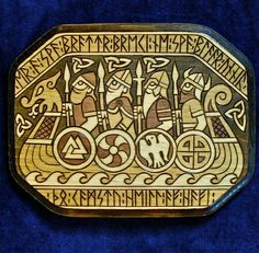 Vikings on a longship with Runes on edges of panel Viking Warrior, Viking Life, Viking Age Art, Viking Woman, Los Primates, Viking Designs, Viking Tattoos, Wiccan Tattoos, Viking Ship Tattoo