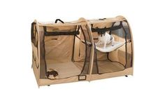 Pet kennel. I use one like this for long-distance travel with my cats. It fits nicely in the back seat and one side can be used for sleeping and the other side for a little high-sided litterbox and a little food. You can put a little water on that side as well, but you need a container that can tolerate sloshing!