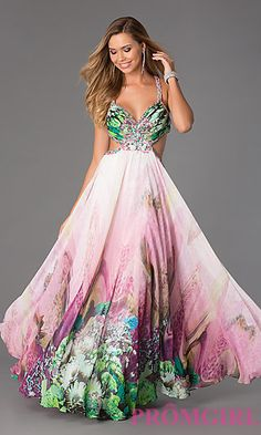 Floor Length Sleeveless Print Dress by Dave and Johnny at PromGirl.com