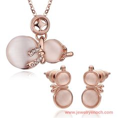 Exquisite Alloy Cat Eye Lady Jewelry Gold 18k Set