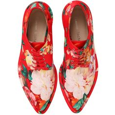 SIMONE ROCHA 30mm Printed Faux Leather Derby Shoes (€430) ❤ liked on Polyvore featuring shoes, oxfords, flats, red, обувь, lace up flat shoes, laced flats, oxford flats, lace up flats and red flats