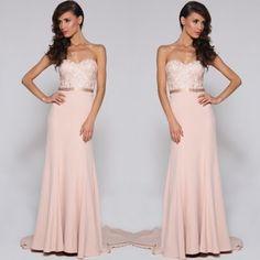 Blush pink bridesmaid dress so simple and elegant