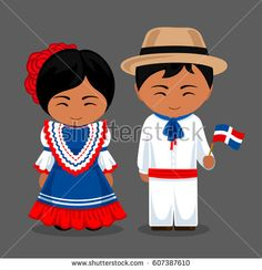 Dominicans in national dress with a flag. Man and woman in traditional costume. Travel to Dominican Republic.