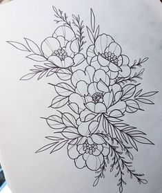 29 Ideas drawing flowers realistic coloring pages Tattoo Outline, Outline Drawings, Tattoo Sketches, Tattoo Drawings, Tattoo Designs, Watercolor Flower, Dibujos Cute, Desenho Tattoo, Line Work Tattoo