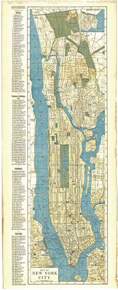 "ANTIQUE 1891 NEW YORK CITY MAP~11"" X 27""~HOTELS/THEATERS/BLDGS/CHURCHES/R.R./ETC New York City Map, North America Map, Antique Maps, Vintage World Maps, Hotels, Antiques, Ebay, Old Maps, Antiquities"
