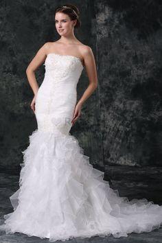 Robe de mariée de sirène en organza avec fleurs fermeutre eclair avec sans…