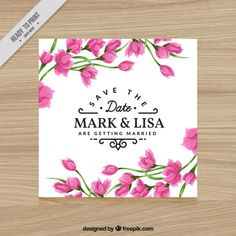 Convite com flores cor de rosa para casamentos Vetor grátis
