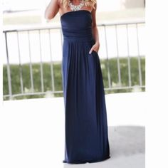 6c80e93ef5 Gorgeous Navy Blue Side Pocket Tube Dress Boutique Maxi Dresses