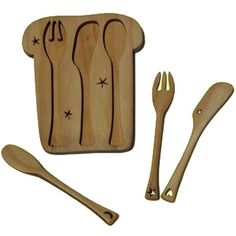 Wooden Toast Puzzle, Baby Utensils. Adorable! $27.95