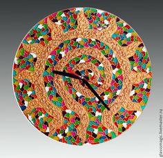 """Купить """"Солнечная спираль"""", часы из стекла, витражная роспись - Витражная роспись, Роспись по стеклу"""