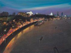 Nicholas Hely Hutchinson (Royaume-Uni, 1955) Londres dans la nuit de Waterloo Bridge huile sur toile 30x40 po. Http://www.nicholashelyhutchinson.com/
