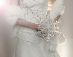Wedding Flowers - Crystal Snowflake Bridal Bouquet - Winter or Christmas Wedding Bouquets - Fabulous Brooch Bouquet Alternative. $175.00, via Etsy.