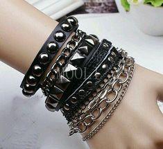 Very nice punk rock black leather woven bracelet men fashion by mooli Woven Bracelets, Bracelets For Men, Fashion Bracelets, Bangles, Stackable Bracelets, Black Bracelets, Leather Bracelets, Fashion Jewelry, Mode Punk Rock