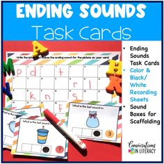 Use these task cards for isolating ending sounds during your phonics word work time! Great activities for isolating specific sounds in words. #phonics #phonemicawareness #kindergarten #firstgrade #elementary #literacycenters #conversationsinliteracy kindergarten, 1st grade, 2nd grade