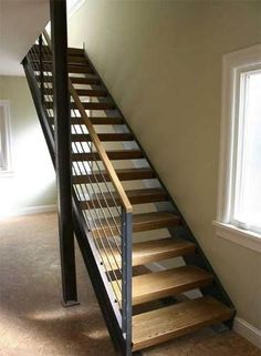 Architectural steel work, stairs, railings, guard rails and handrail brackets. Diy Staircase Railing, Cable Stair Railing, Modern Staircase, Staircase Design, Steel Stairs, Interior Stairs, House Stairs, Basement Remodeling, Modern Interior Design