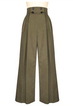 Vintage Wide Leg Pants in Khaki at www.modemundo.com 1940s Fashion, Fashion Sewing, Vintage Fashion, Vintage Clothing 1940s, Style Fashion, Fashion Pants, Hijab Fashion, Fashion Dresses, Capri Shorts