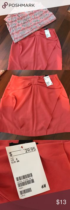 NET H&M skirt Brand new H&M skirt. Super cute with pockets and now at the waist. Coral  color H&M Skirts Mini