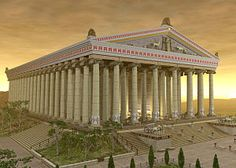 Temple of Artemis. Ephesus. Artist's concept. One of the seven wonders of the ancient world. In situ, only 1 column remains although there is a room in the British Museum with additional artifacts.