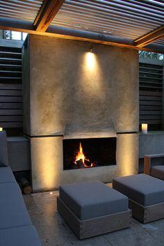 The Best Backyard Fireplace Design That You Must Have 07 Modern Outdoor Fireplace, Backyard Fireplace, Fire Pit Backyard, Outdoor Fireplaces, Outdoor Rooms, Outdoor Living, Outdoor Decor, Modern Garden Design, Fireplace Design
