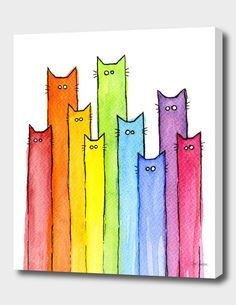 Cartoon Cat Painting - Cat Rainbow Watercolor Pattern by Olga Shvartsur Watercolor Pattern, Watercolor Cards, Pattern Painting, Kids Watercolor, Watercolor Painting, Rainbow Art, Rainbow Drawing, Rainbow Painting, Rainbow Images