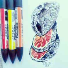 Latest drawing, of a moon with a fruity inside. :)