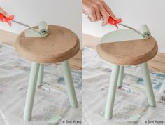 #diy restyling vintage stool with chalkpaint from Pure and original #chalkpaint #matt