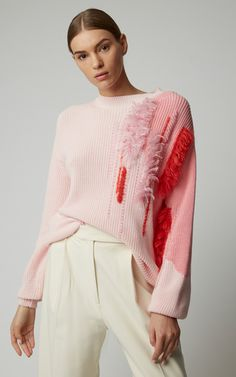 Embroidered Cotton Sweater Embroidered Cotton Sweater by DELPOZO Now Available on Moda Operandi Knitwear Fashion, Knit Fashion, Fashion Outfits, Elisa Cavaletti, Delpozo, Cotton Sweater, Knitting Designs, Look Cool, Pulls