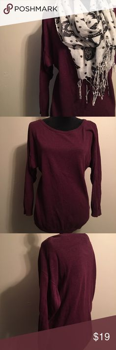 Batwing Maroon-Purple H&M Divided Sweater Very pretty maroon-purple color. Super soft, warm, comfortable, and stretchy. Very gently worn and has no flaws at all. Size XS but fits more like a small. Divided Sweaters Crew & Scoop Necks