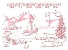 Summer  Redwork