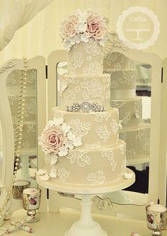 Brushed Lace Wedding Cake ~