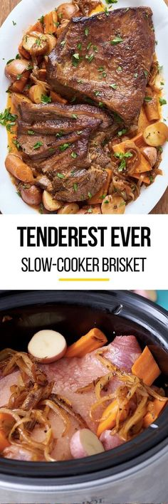 How to make SUPER TENDER beef brisket in your crockpot or slow cooker. Pull out your crock pot to make this recipe just like your Jewish grandmother used to make! So easy with step by step photos. This classic comfort food recipe is perfect for cold weath Slow Cooker Brisket, Crock Pot Slow Cooker, Crock Pot Cooking, Slow Cooker Recipes, Crockpot Recipes, Chicken Recipes, Cooking Recipes, Crock Pots, Pork Recipes