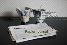 Paper cup, green planters, petits pots à semis en papier recyclé, upcycle news paper, réutiliser le papier journal