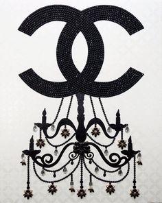 CROWN JEWELS: CC CHANDELIER II - 24x30 Chanel Wall Art, Chanel Decor, Chanel Art, Nail Polish Art, Black Chandelier, Diy Things, Black Rhinestone, Girls Life, Crown Jewels