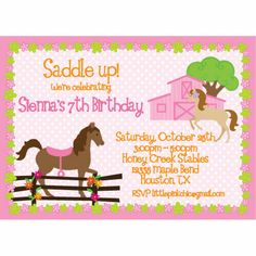 Springtime Horses Birthday Invitation
