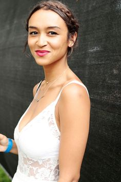 The secret to this ethereal look? A sweet braid, white lace, and a rosy flush. #refinery29 http://www.refinery29.com/2015/07/90799/pitchfork-2015-street-style-pictures#slide-11