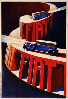 Fiat Automobile Italy Night Drive Car Going Uphill Italian Vintage Poster Repro - Autos und Motorräder Vintage Italian Posters, Vintage Advertising Posters, Vintage Travel Posters, Vintage Advertisements, Vintage Ads, Car Advertising, Poster Vintage, Art Deco Posters, Car Posters