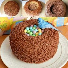 Cadbury chocolate eggs and mini eggs nested in the center of an angel food cake, frosted and covered in shredded coconut (dye to desired color). Semi homemade (use store bought chocolate angel food cake), Easter Treats, Easter Food, Macaron, Easter Recipes, Easter Desserts, Easter Cupcakes, Easter Cake Nest, Cute Cakes, Creative Cakes