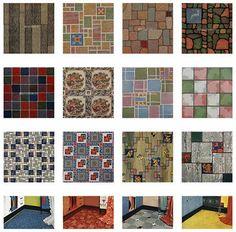 Vintage 1950's linoleum patterns