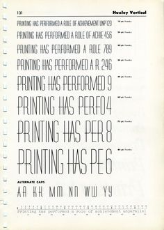 Type Specimens / Vintage font specimen of Huxley Vertical
