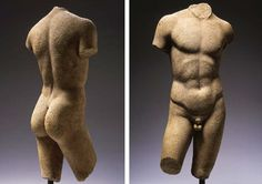 Roman marble torso of a young man, 1st century b.c./a.d. copy after the Diskophoros attributed to Naukydes, the Greek original, c. 400 b.c. Naked, standing with weight on left leg, the right leg bent forward, both arms held downwards, with sensitively carved musculature of the body, repair at left knee, mounted.