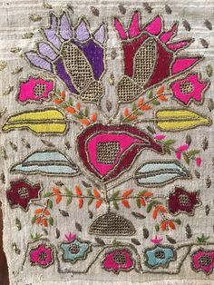 Antique Ottoman-Turkish Silk & Gold Metallic Hand Embroidery On Linen Fragment 2 2