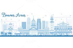 Outline Buenos Aires Skyline by Igor Sorokin on @creativemarket