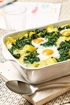 Potatoes, spinach and fried egg are an unbeatable team.  Made even easier in the casserole.