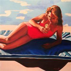 "Saatchi Art Artist Elizabeth Lennie; Painting, ""Poolside"" #art"